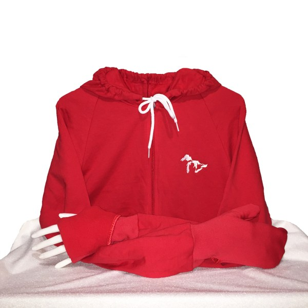 Great Lakes Hoodie with Convertible Turtle Flip Mittens Red
