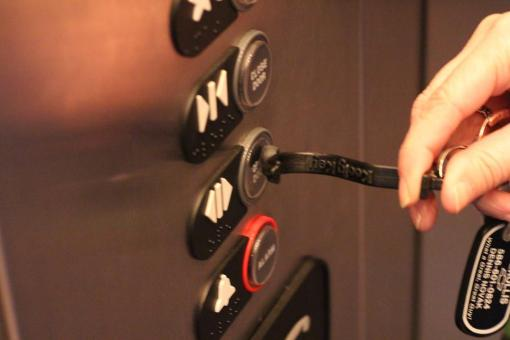 Use the Kooty Key in the Elevator