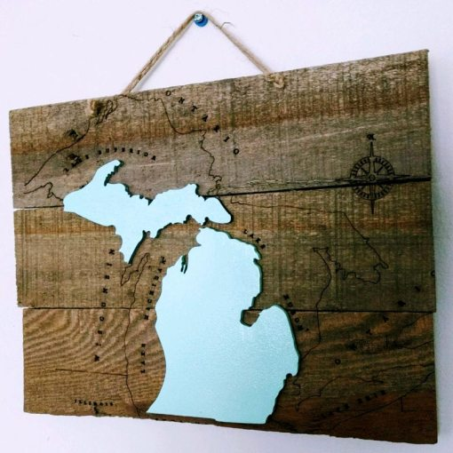 Reclaimed Wood Nautical Michigan Sign in Mint