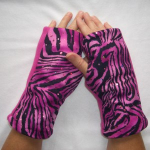 Pink Zebra Sparkle Reversible Fingerless Gloves