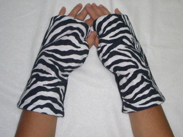 Zebra Print Reversible Fingerless Gloves