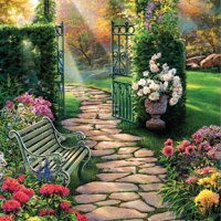 Garden Path Giclee Print on Wrapped Canvas by Artist Russell Cobane