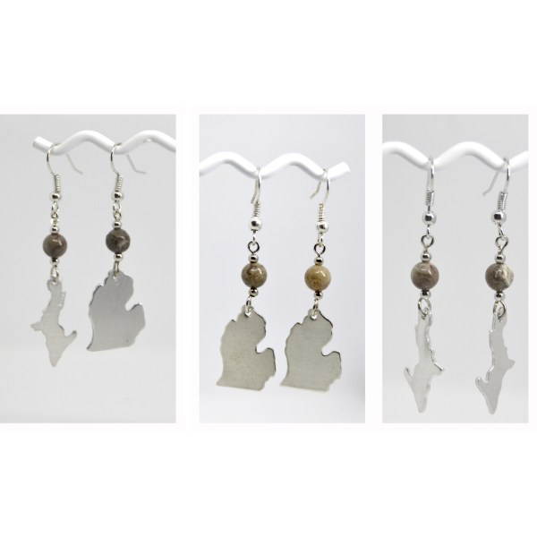 Michigan Petoskey Stone Dangle Earrings