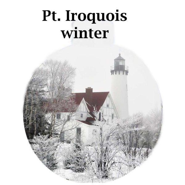 Metal Photo Ornament Pt Iroquois Winter