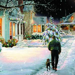 Christmas Eve Walk Giclee Print on Wrapped Canvas by Artist Russell Cobane