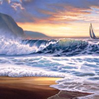 Ocean Sunset Sailboat Giclee Print on Wrapped Canvas by Artist Russell Cobane