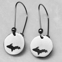 Engraved U.P. Earrings with Kidney Shape Earwires