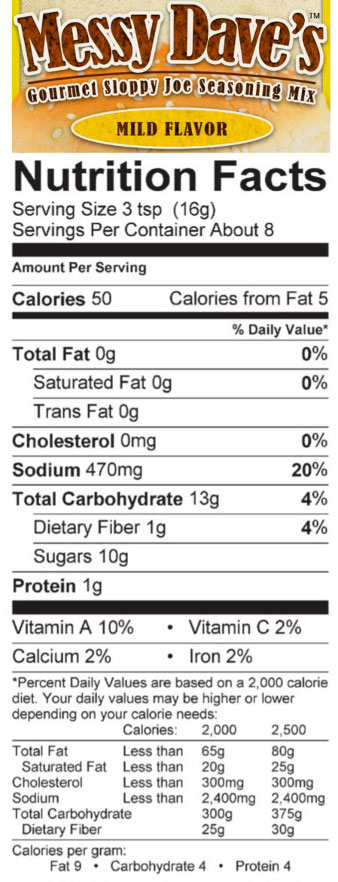 Mild Sloppy Joe Seasoning Mix Nutrition