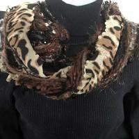 Brown Ribbon Yarn Animal Print Scarf