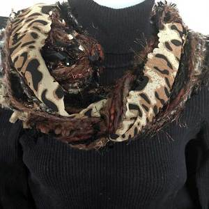 Brown Ribbon Yarn Animal Print Scarf