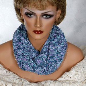 Aqua Green Purple Scarf Necklace