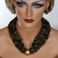 Brown Green Gold Bead Scarf Necklace
