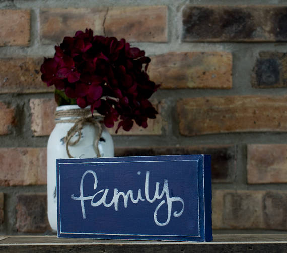 Navy Blue Rustic Shabby Chic Family Sign