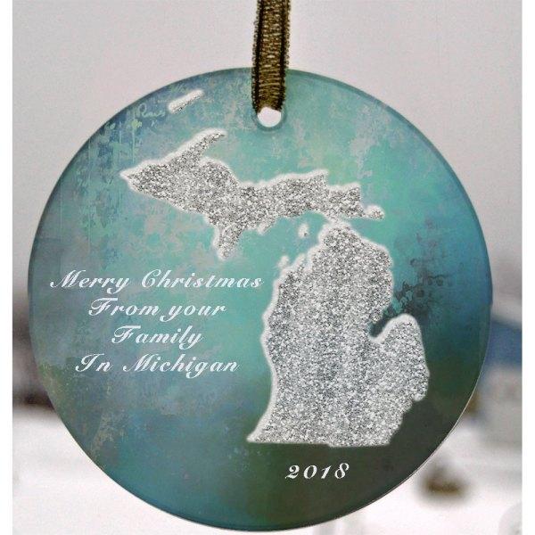 Glass Michigan Suncatcher Ornament