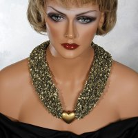 Gold Heart Bead Scarf Necklace