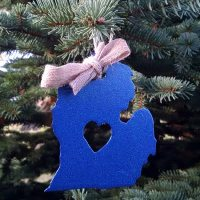 Metallic Blue Lower Michigan Ornament