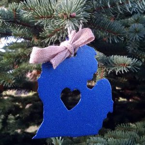 Metallic Blue Lower Michigan Ornament