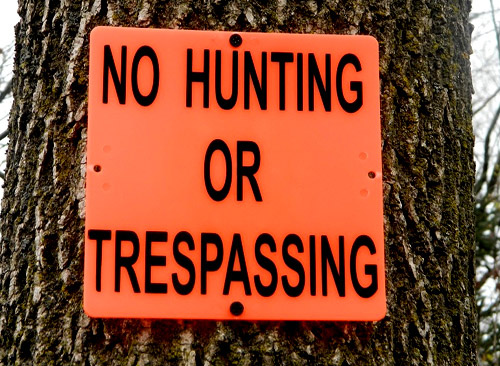NO HUNTING OR TRESPASSING SIGNS