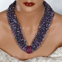 Purple Blue Pink Bead Scarf Necklace
