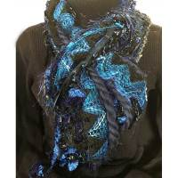 Ribbon Yarn Blue Black Scarf