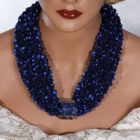 Royal Blue Clear Bead Scarf Necklace