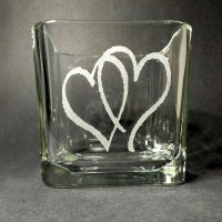 Engraved Candle Holder Double Heart
