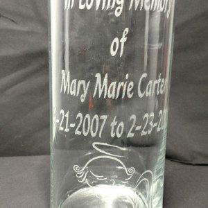 Engraved Cylinder Vase - Clear