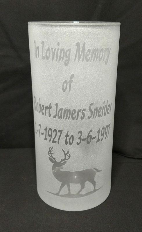 Engraved Cylinder Vase - Frost
