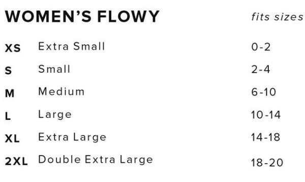 Womens Flowy Size Chart