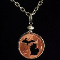 Michigan Silhouette Penny Necklace