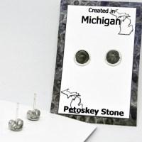 Post Petoskey Stone Earrings 3mm