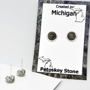 Post Petoskey Stone Earrings 3mm