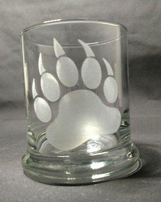 Engraved Rock Glass Bear Paw Print