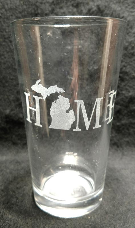 Engraved Michigan Pint Glass HOME Michigan
