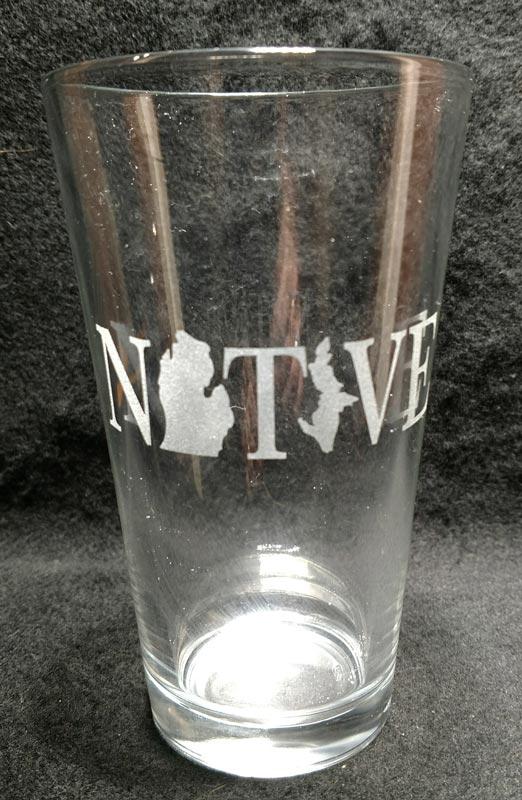 Engraved Michigan Pint Glass Native Michigan