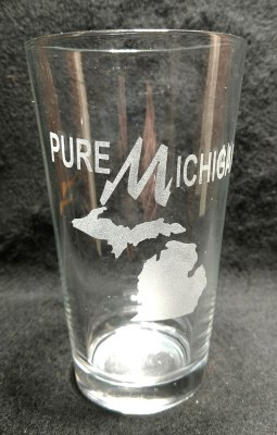Engraved Michigan Pint Glass Pure Michigan