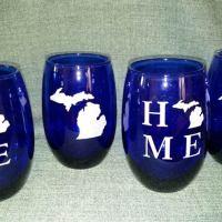 Engraved Blue Michigan Stemless Wine Glass