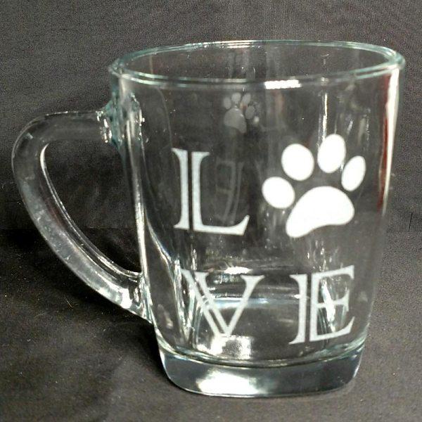 Engraved Coffee Mug LOVE Paw Print