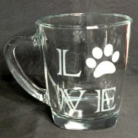 Engraved Coffee Mug LOVE Paw Print
