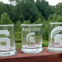 Engraved Spartan MSU Rocks Glass