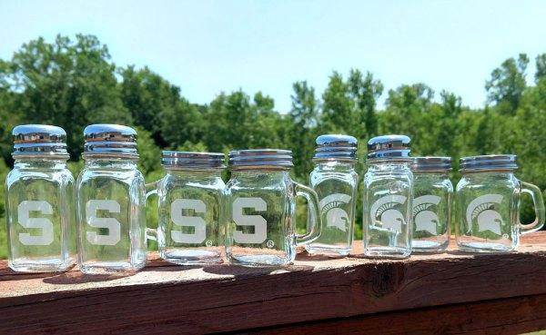 Engraved MSU Spartan Sparty Salt Pepper