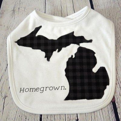 Baby Michigan Homegrown Bib - Black Gray Plaid