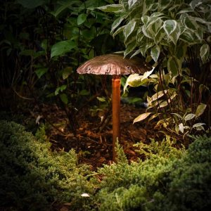 Mushroom Cap Copper LED Landscape Light