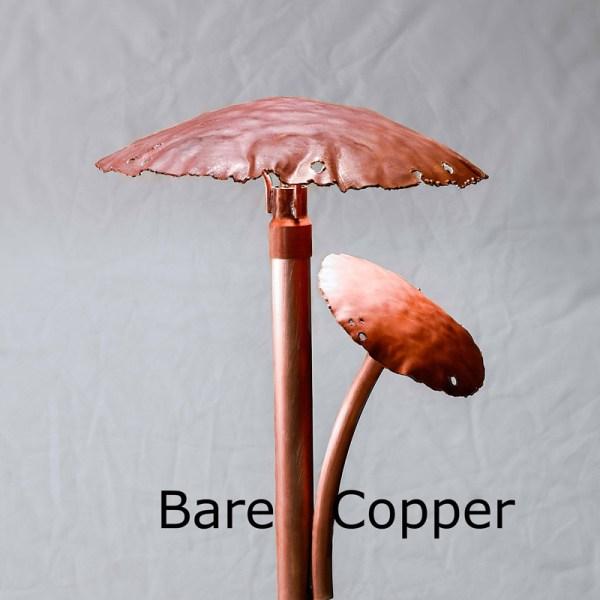 Two Mushroom Caps Copper LED Landscape Light Bare Copper