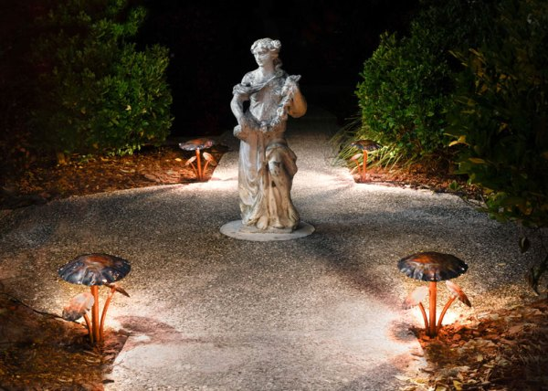 Mushroom Cap Copper LED Landscape Lights