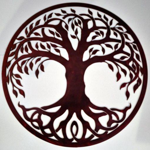 Tree of Life Metal Sign Brown
