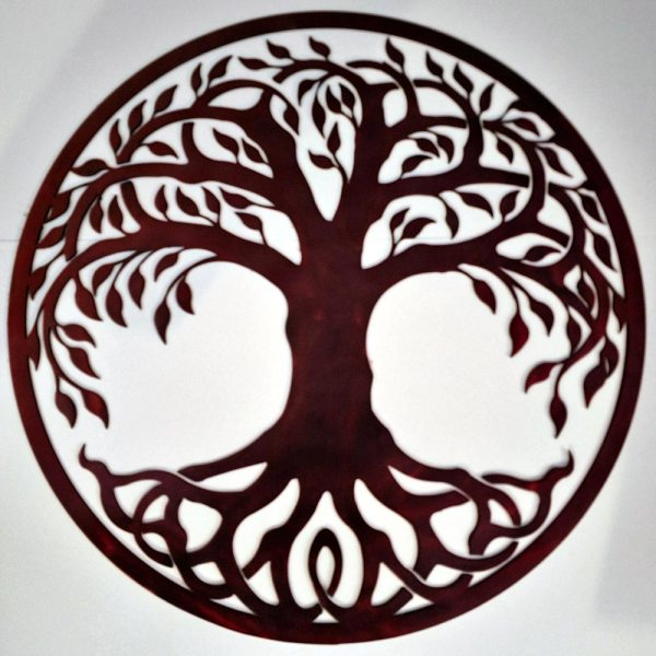 Tree of Life Metal Sign Brown