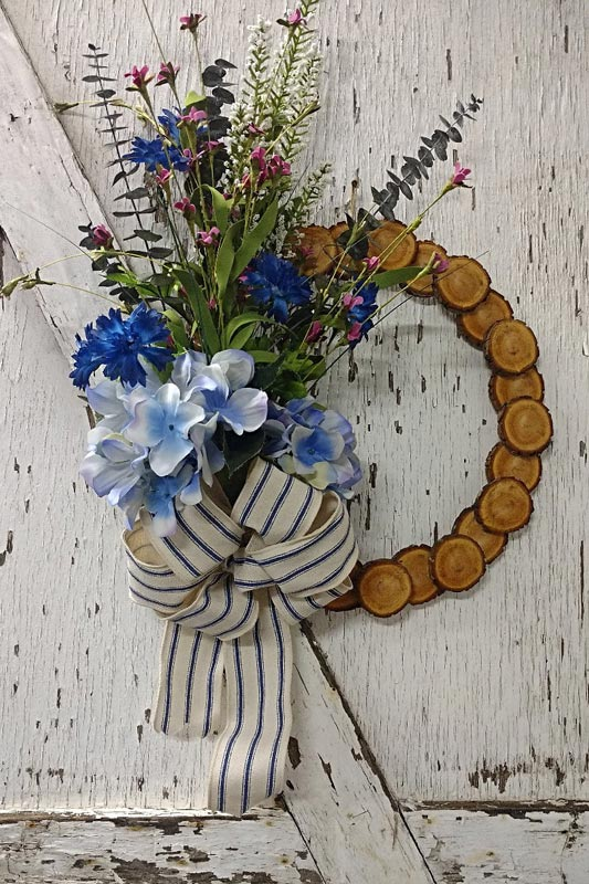 Rustic 15 Wood Slice Wildflower Wreath Made In Michigan Products