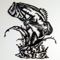 Jumping Bass Fisherman Wildlife Decor Black