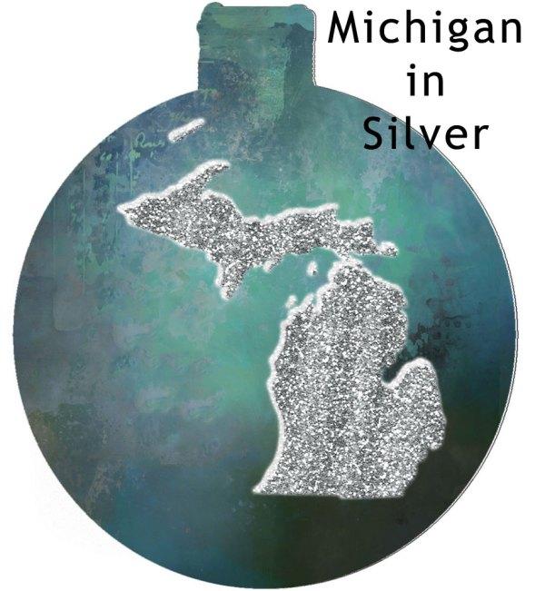 Metal Michigan Ornament - Michigan in Silver